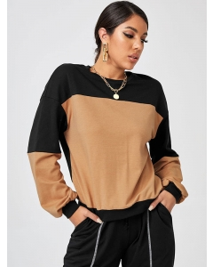 Dresswel Women Casual Sports Contrast Color Stitching Round Neck Pullover Long Sleeve Sweatshirt Tops