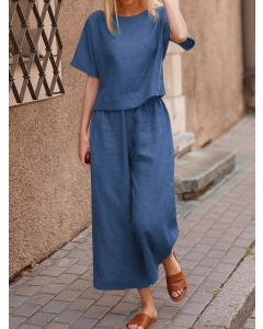 Dresswel Women Round Neck Solid Color Simple Stylish Summer Short Sleeve Suit