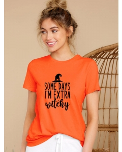 Dresswel Women Some Days I'm Extra Witchy Letter Printed Crew Neck T-Shirt Top