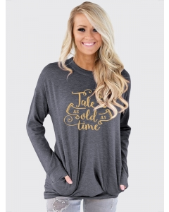 Desswel Women Tale As Old As Time Letter Print Long Sleeve Pocket T-Shirt Tops