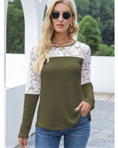 Dresswel Women Crew Neck Waffle Lace Stitching Long Sleeve Colorblock Blouse Tops