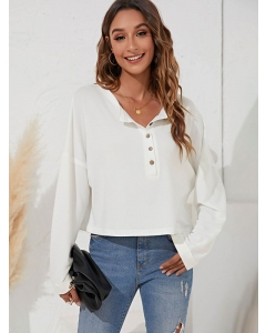 Dresswel Women Lapel Collar Button Solid Color Long Sleeve Fashion Tee Tops