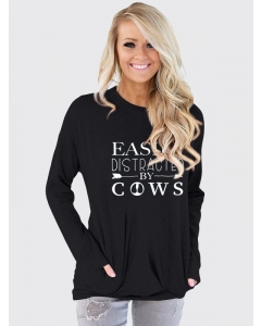 Dresswel Women Easily Distracted by Cows Letter Print Crew Neck Long Sleeve T-Shirt