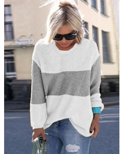 Dresswel Women Casual Tricolor Spliced Crew Neck Long Sleeve Knitted Sweater Top