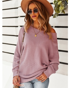 Dresswel Women Loose Crew Neck Long Sleeve Solid Color Stretchy Knitted Sweater Tops