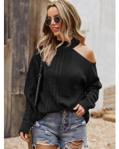 Dresswel Women Solid Color Chunky Knit Cold Shoulder Mock Neck Long Sleeve Sweater Tops