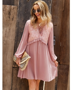 Dresswel Women Solid Color Ruched Strappy V Neck Crochet Lace Long Sleeve Mini Dress
