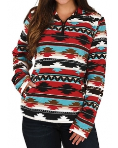 Dresswel Women Striped Aztec Geometric Multicolor Zipper Sweatshirt