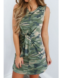 Dresswel Camouflage Printed Tie Sleeveless Mini Dress