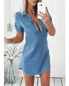 Dresswel Solid Denim Asymmetric Mini Dress without Necklace
