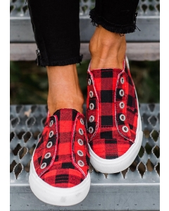 Dresswel Women Plaid Slip-On Round Toe Flat Sneakers