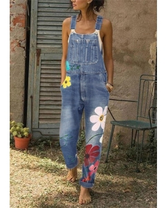 Dresswel Floral Pocket Button Overall Jumpsuit
