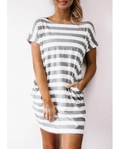 Dresswel Striped Pocket Mini Dress