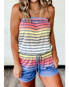 Dresswel Colorful Striped Splicing Gradient Color Drawstring Romper