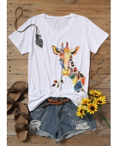 Dresswel Giraffe Splicing Polka Dot Striped Leaf T-Shirt Tee without Necklace - White