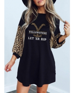 Dresswel Women Yellowstone Leopard Elastic Cuff Mini Dress