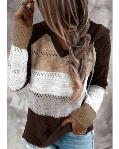 Dresswel Women Color Block Hollow Out Drawstring Knitted Hoodie Sweater
