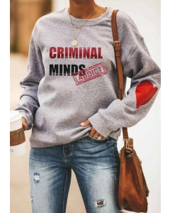 Dresswel Women Criminal Minds Addict Heart Sweatshirt
