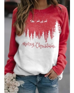 Dresswel Women Merry Christmas Reindeer Tree Pullover Sweatshirt
