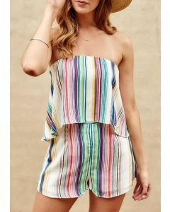 Colorful Striped Open Back Ruffled Romper