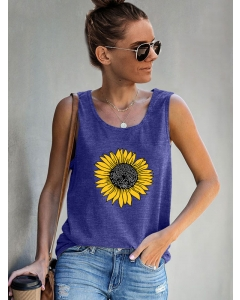 Dresswel Women Casual Sunflower Graphic Camisole Muscle Racerback Tank Shirts