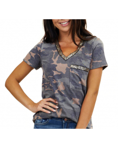 Dresswel Women Camouflage Sequined Splicing Pocket T-shirts TOP