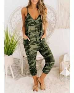 Dresswel Camouflage Spaghetti Strap Pocket Jumpsuit
