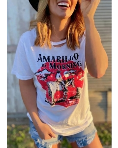 Dresswel Amarillo By Morning Horse Hollow Out T-Shirt Tee