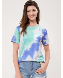 Dresswel Women Round Neck Short Sleeve Printed Tie-dye Tee Loose Fashion T-Shirt Tops