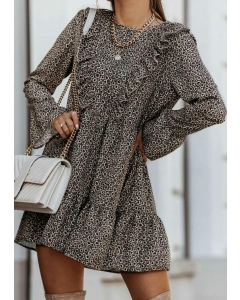 Dresswel Women Floral Ruffled Long Sleeve Mini Dress without Necklace