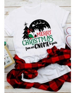 Dresswel Women Merry Christmas From Our Gnome to Yours Plaid T-Shirt Tee - White