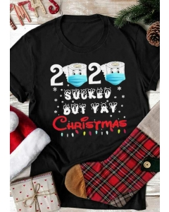 Dresswel Women 2020 Sucked But Yay Christmas T-Shirt Tee - Black