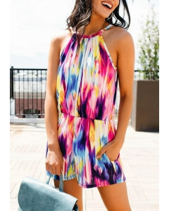 Dresswel Women Rainbow Tie Dye Pocket Hollow Out Romper
