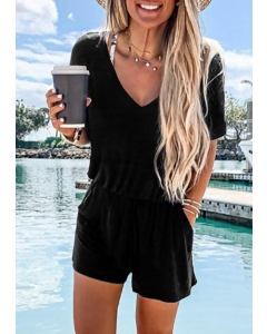 Dresswel Women Ruffled Pocket Romper without Necklace - Black