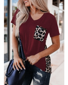 Dresswel Women Leopard Printed Splicing T-Shirt Tee without Necklace - Burgundy