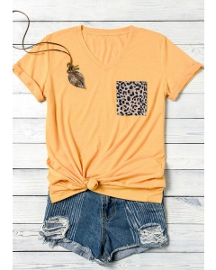 Dresswel Women Leopard Pocket V-Neck T-Shirt Tee without Necklace - Yellow