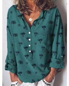 Dresswel Women Green Casual Shift Plants Printed Stand Collar Shirts & Tops