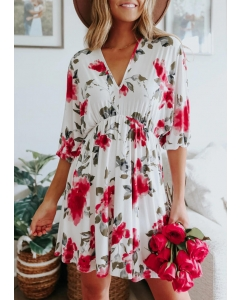 Dresswel Women Floral Open Back Tie Elastic Cuff Mini Dress