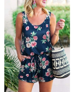 Dresswel Women Floral Pocket Drawstring Romper - Navy Blue