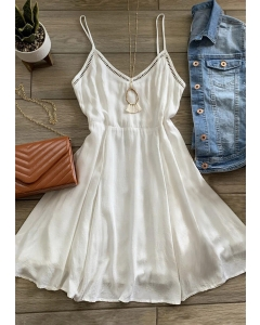 Dresswel Women Hollow Out Ruffled Spaghetti Strap Mini Dress without Necklace - White