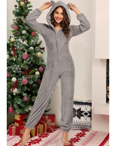 Dresswel Women Winter Warm Zipper Long Sleeve Hooded Pajamas Jumpsuit