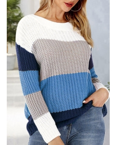 Dresswel Women Color Block Knitted Long Sleeve Pullover Sweater - Blue