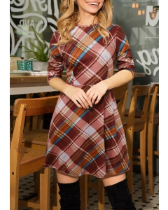 Dresswel Women Plaid O-Neck Long Sleeve Mini Dress