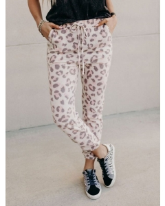 Dresswel Women Spring and summer casual knit pants Leopard Pants