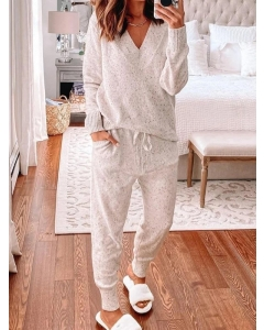 Dresswel Women New Women Chic Plus Size Vintage Casual Comfortable Holiday Home V Neck Suits