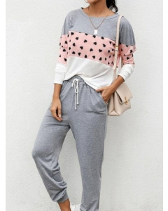 Dresswel Women Polka Dots Long Sleeve Crew Neck Sleepwear & Loungewear