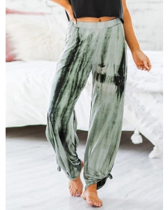 Dresswel Women Bloomers Tie-dye Printing Trousers Gradient Casual Loose Homewear Pants