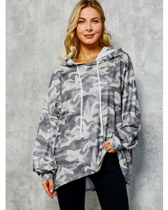 Dresswel Women Camouflage Printed Hooded Pullover Sweatershirt Hoodies