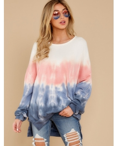 Dresswel Women Casual Plus Size Tie Dye Long Sleeve Loungewear Sweatshirts Tops