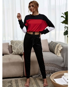 Dresswel Women  Color Block Print Long Sleeve Shirts and Elastic Pants Loungewear Sets